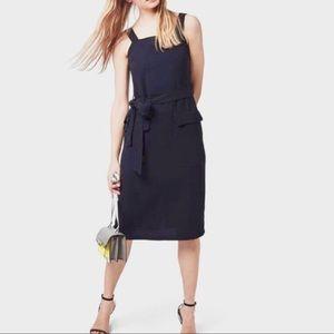 Topshop navy blue, belted pinafore dress
